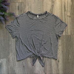 Black And White Striped Tie Waist Crop Top Tee